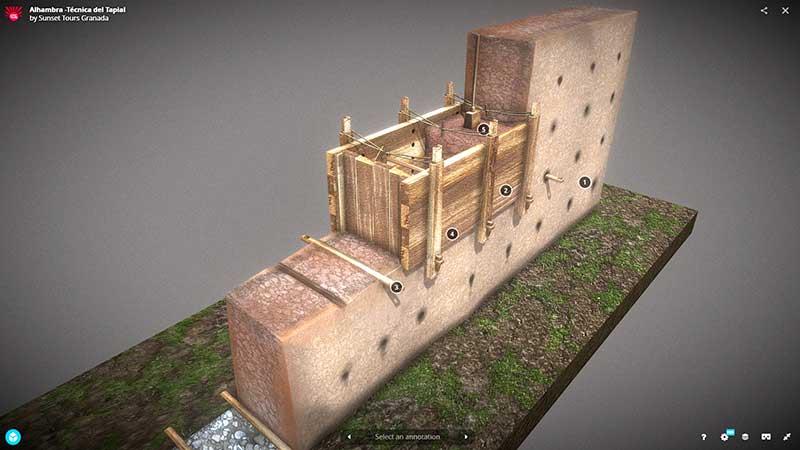 Infografía 3D mostrando una simulación de la técnica constructiva del tapial