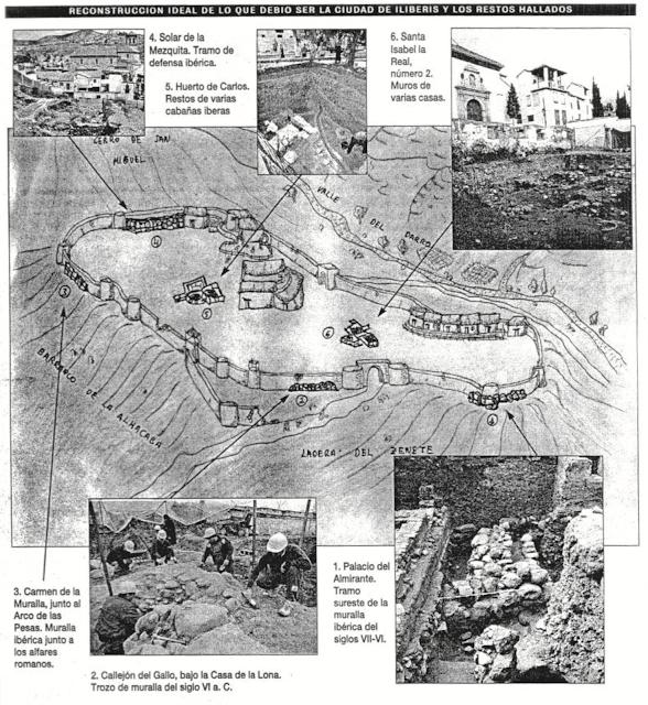 Infografia sobre el oppidum ibero que existio en la actual Granada hasta el siglo III antes de Cristo