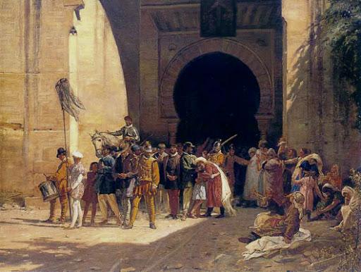 pintura historicista que muestra a los moriscos siendo expulsados