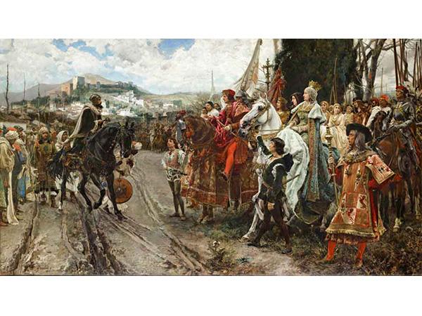 Boabdil entregando las llaves de Granada a los Reyes Católicos el 2 de enero de 1492. Hoy se sigue celebrando, conocido como el Día de la Toma