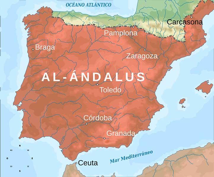 Mapa de al-Ándalus en el añ0 732, durante su máxima extensión