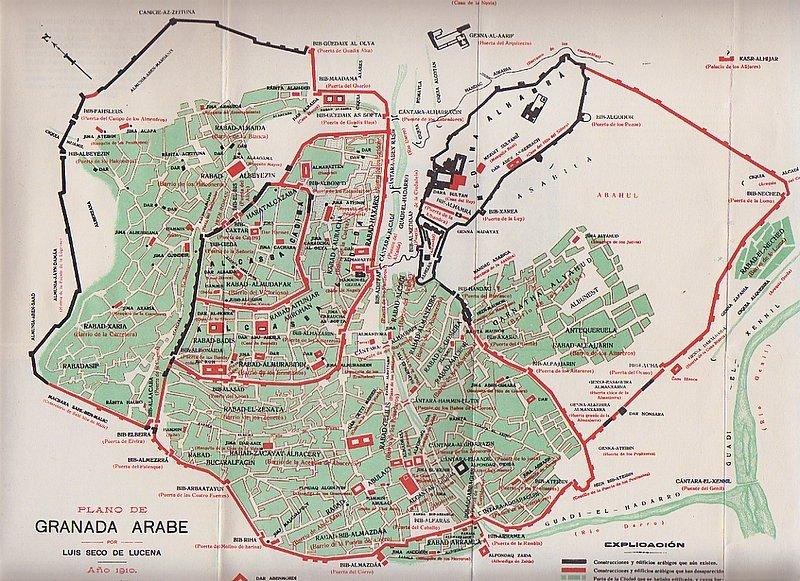 Plano de la Granada nazarí