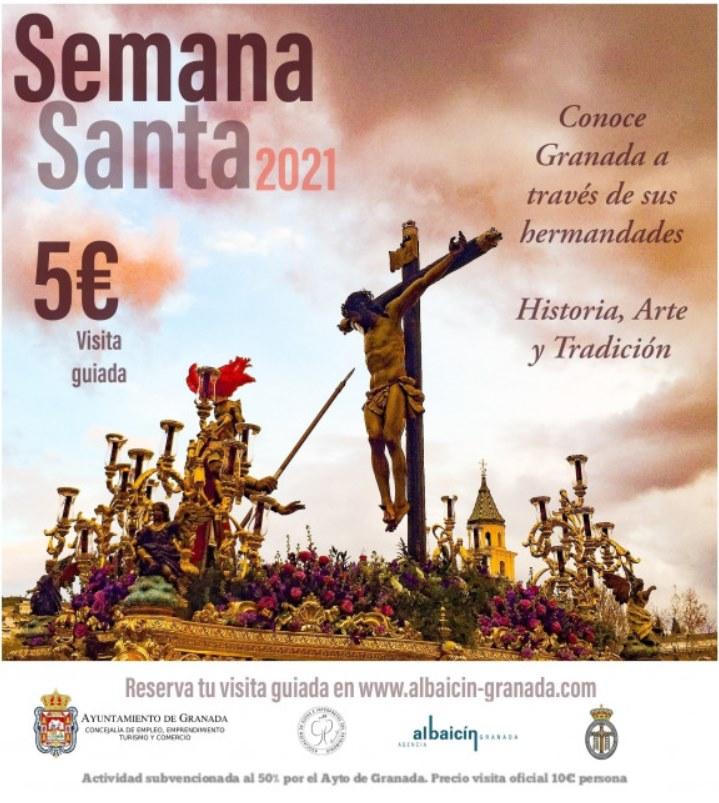Cartel de las visitas guiadas en Granada con motivo de la Semana Santa 2021