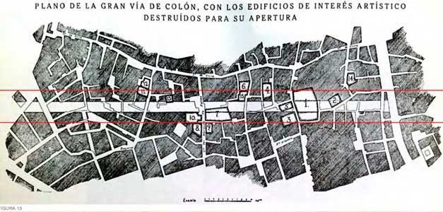 Plano superpuesto del Barrio de la Medina con el trazado de la Gran Vía de Colón y los monumentos que serían destruidos, Leopoldo Torres Balvás